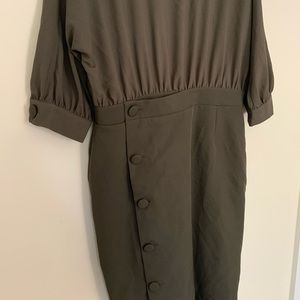 ASOS Dresses - NWT ASOS Olive Green Side Button Wrap Formal Dress
